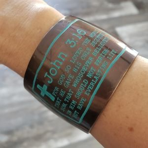 Wide Cuff Bracelet With Bible Verse